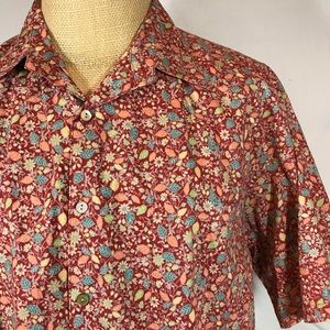 Tori Richard Button Front Shirt Floral Leaves XL